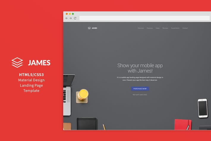 Thumbnail for James - Material Design Mobile App Landing Page