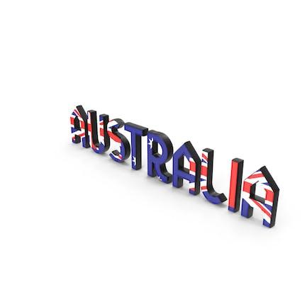 Australia Text with Flag