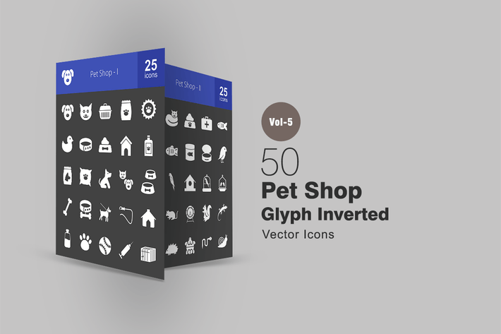 Thumbnail for 50 Pet Shop Glyph Inverted Icons