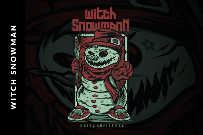 Thumbnail for Witch Snowman Christmas Illustration