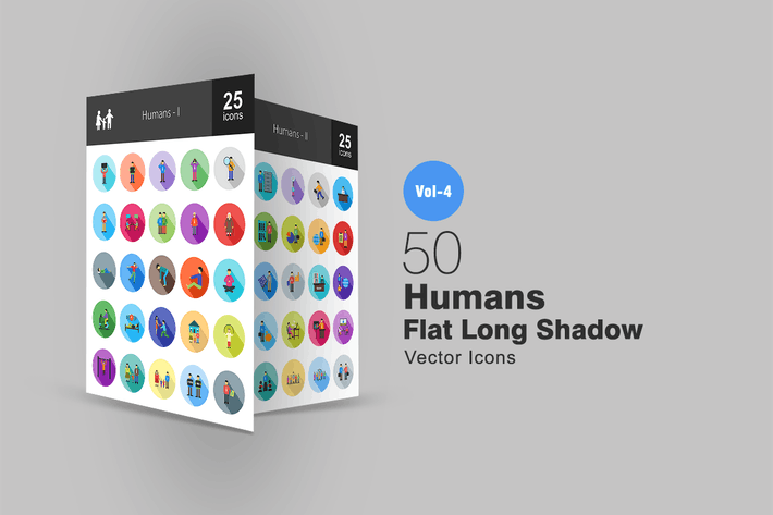 Thumbnail for 50 Humans Flat Shadowed Icons