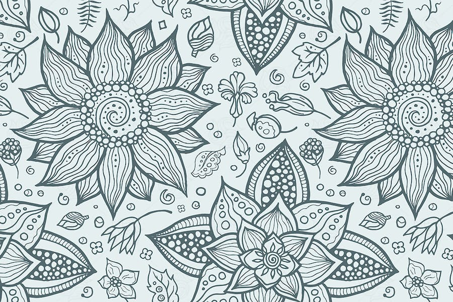 Illustration of seamless hand-drawn floral pattern