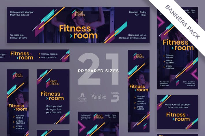 Cover Image For Fitness Gym Banner Pack Template