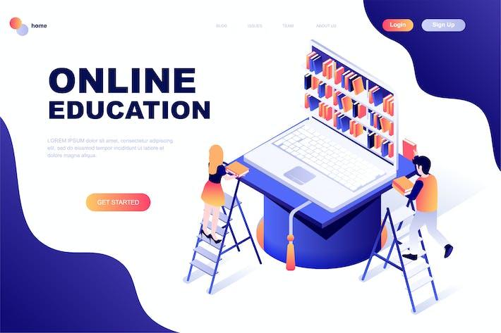 Thumbnail for Plantilla de Página de inicio isométrico de Educación en línea