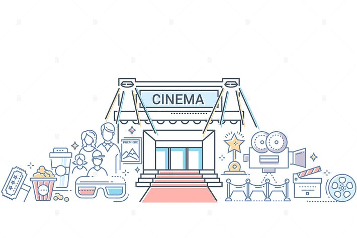 Thumbnail for Film festival - line design style illustration