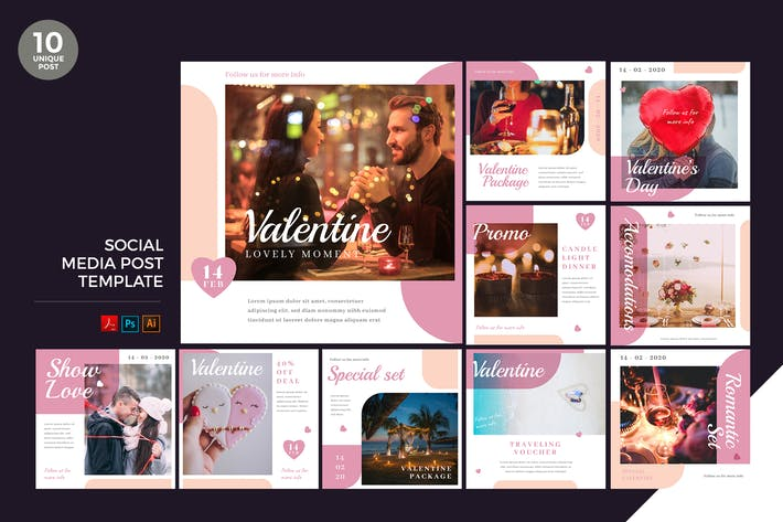 Thumbnail for Valentine Social Media Kit PSD & AI Template