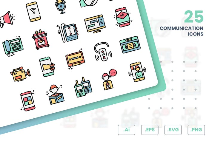 Thumbnail for Communication And Media Icons Set