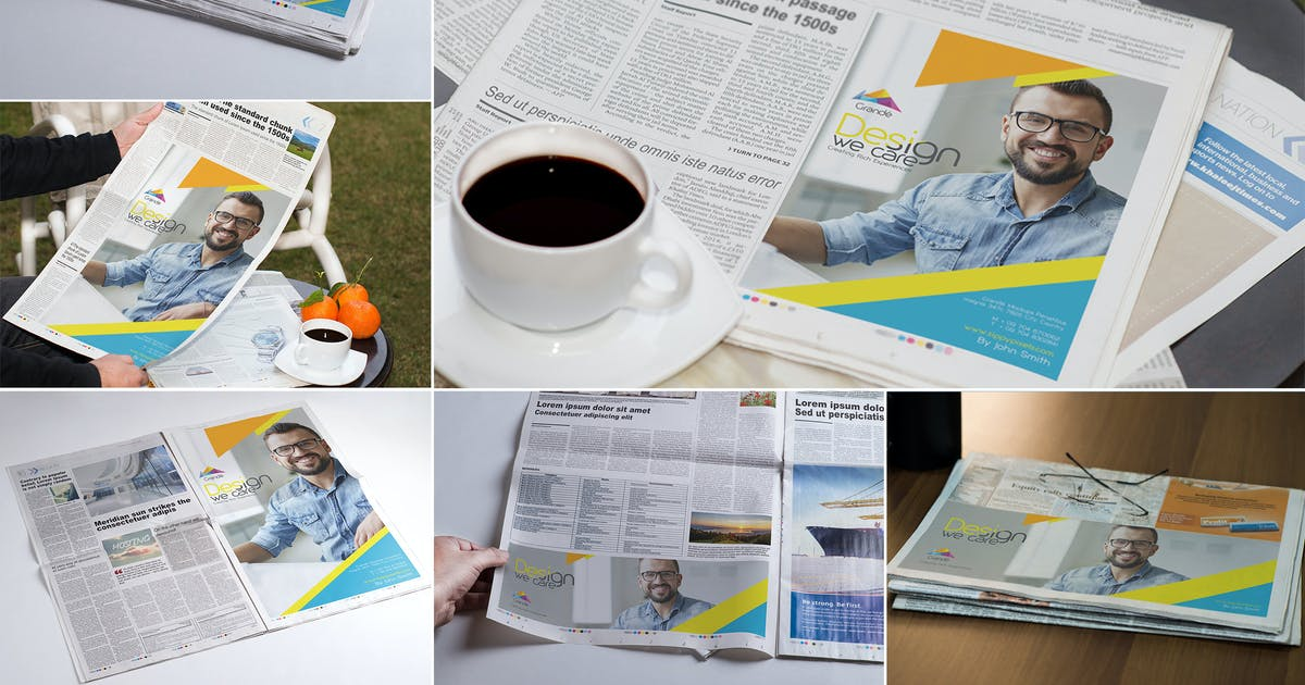 Newspaper Print Ad Design Mockups by zippypixels