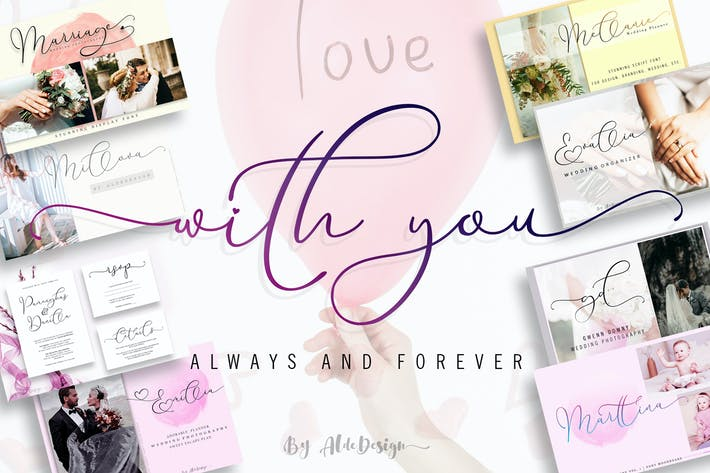 Thumbnail for With You // Lovely Script Font