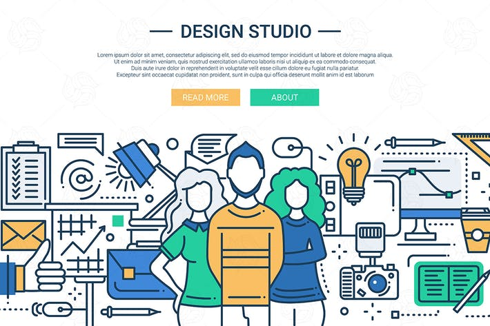 Thumbnail for Design Studio - line design website banner