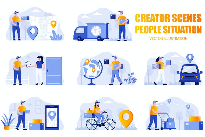 Thumbnail for Delivery People Character Scene Creator Kit