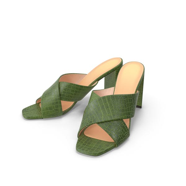 Women's Shoes Mules Green Crocodile Leather