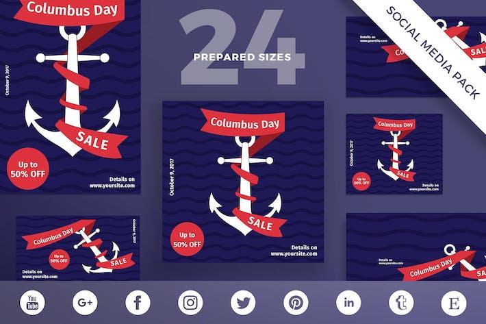 Thumbnail for Columbus Day Social Media Pack Template