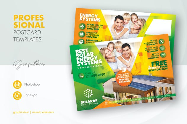 Solar Energy Postcard Templates