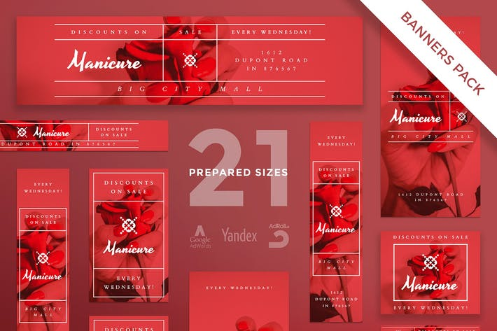 Manicure Nails Banner Pack Template