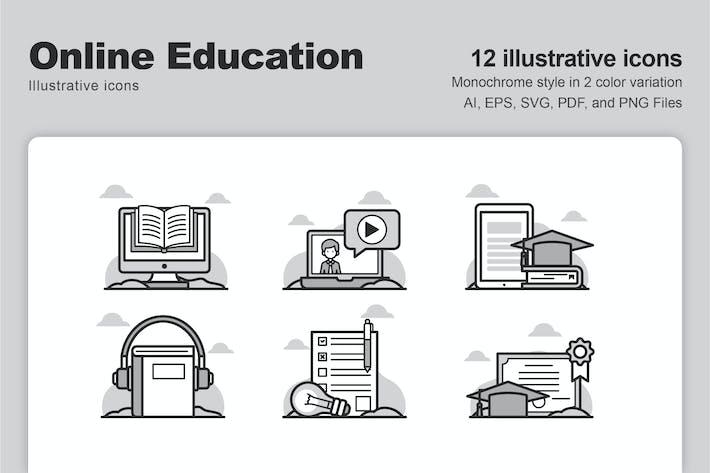 Íconos ilustrativos de educación en línea