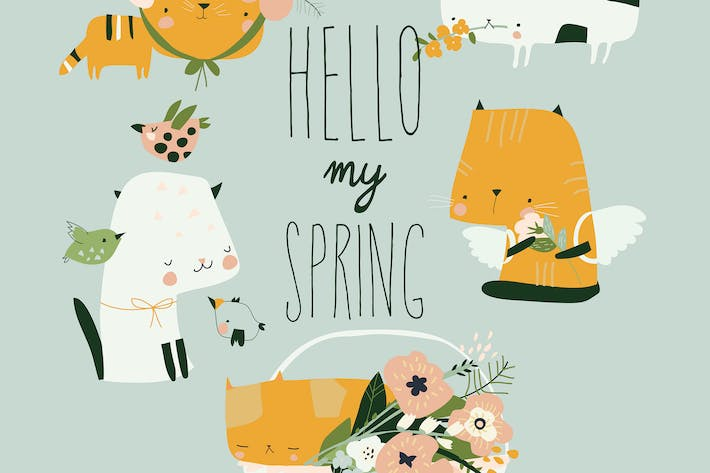 Vector cartoon set of funny cats with spring flowe