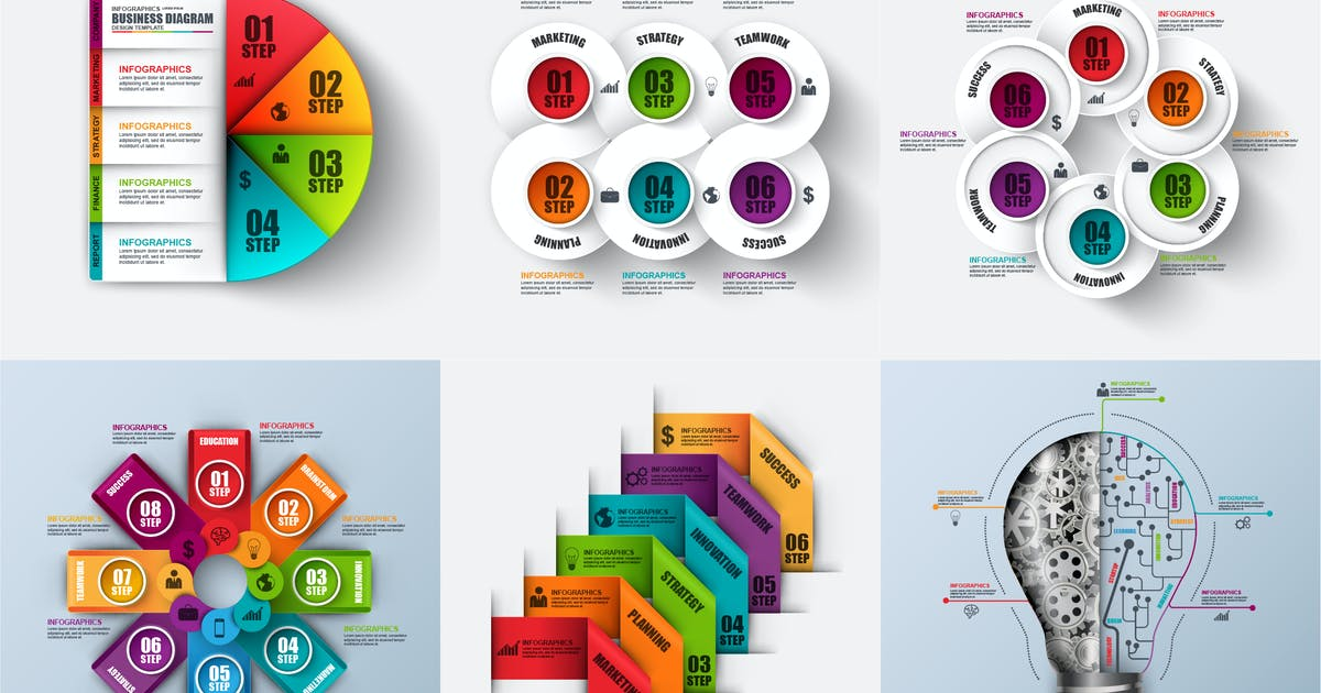 Download Set of abstract 3d business infographics vector by alexdndz
