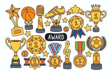 Award and Trophy Doodle Illustration