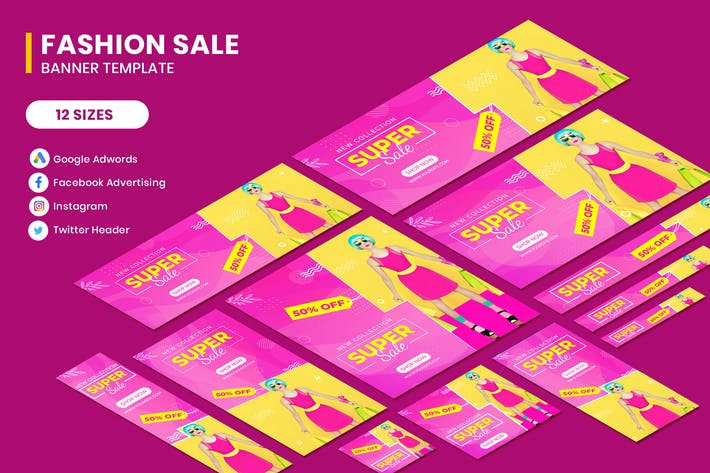 Cover Image For Fashion Sale Google Adwords Banner Template
