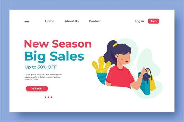 Cover Image For New Season Big Sales Landing Page Illustration