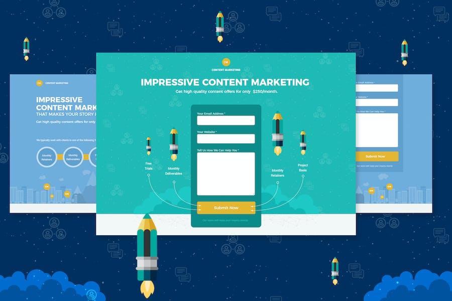Page de destination de Content Marketing Unbounce