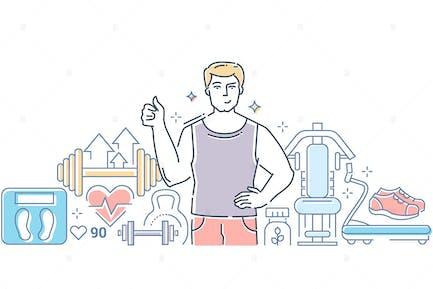 Gym - line design style vector illustration
