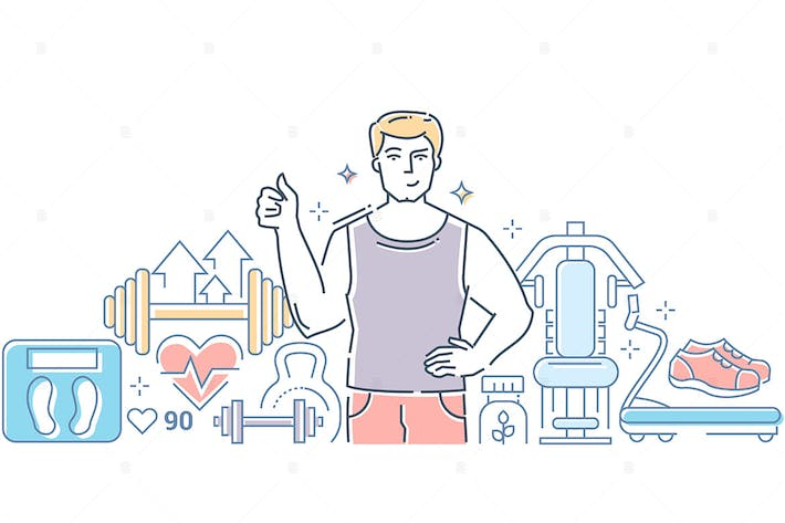 Thumbnail for Gym - line design style vector illustration