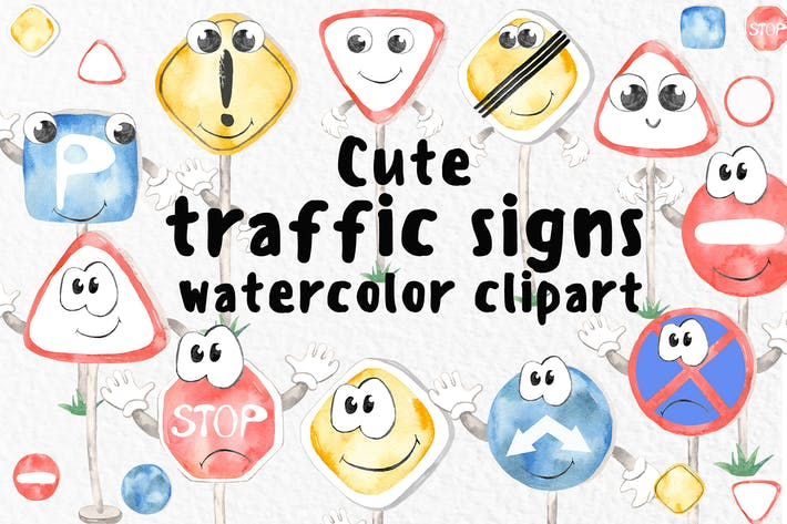 Thumbnail for Watercolor Cute traffic signs Clipart