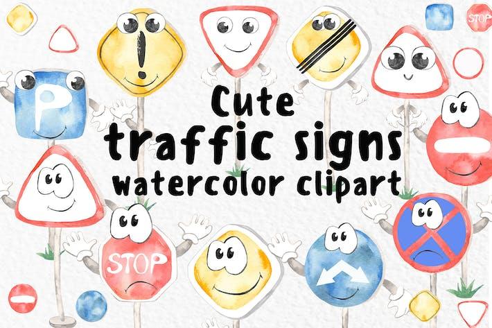 Thumbnail for Акварель Симпатичные дорожные знаки Клипарт