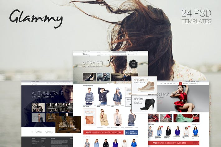 Thumbnail for Glammy Ecommerce PSD Templates