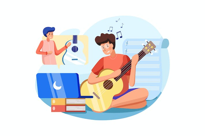 Thumbnail for The boy learns to play musical instrument online