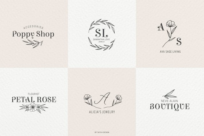 Thumbnail for Romantic Feminine Premade Logos pt 2