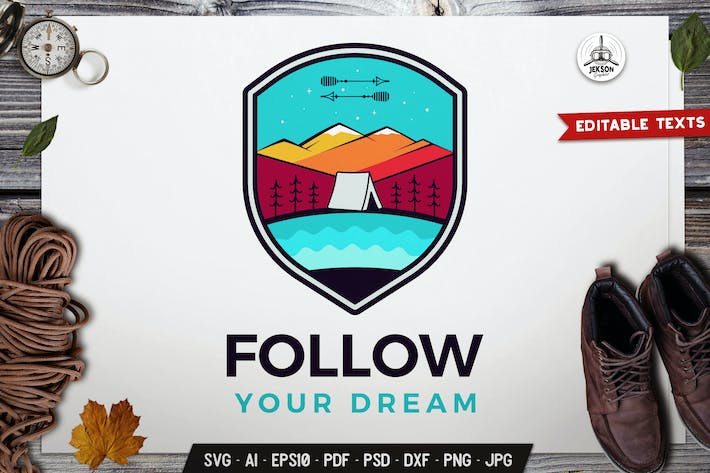 Thumbnail for Adventure Badge SVG. Travel Template, Hiking Label