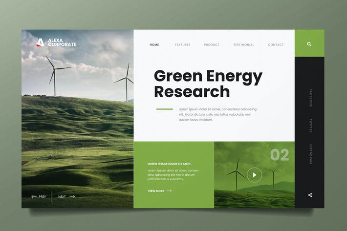 Thumbnail for Renewable Energy Web Header PSD and AI Vorlage