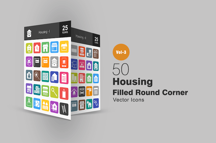 Thumbnail for 50 Housing Flat Round Corner Icons