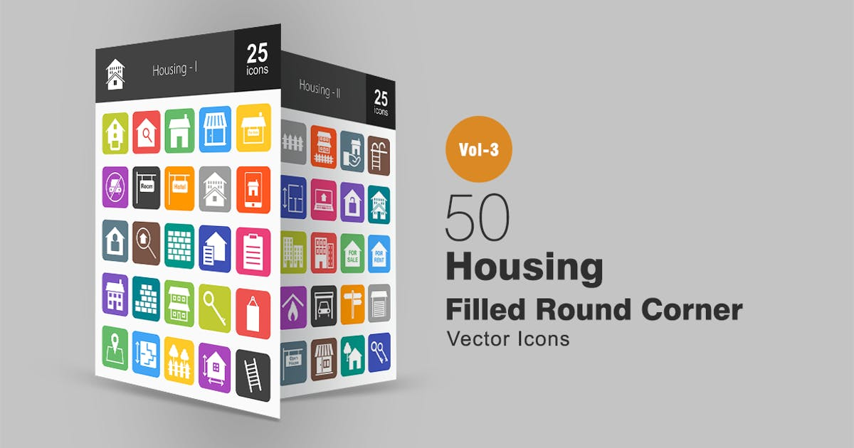 Download 50 Housing Flat Round Corner Icons by IconBunny