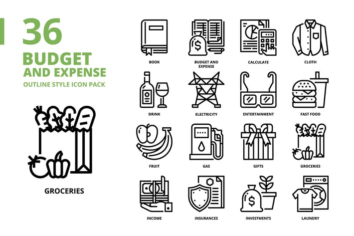 Budget and Expense Outline Style Icon Set