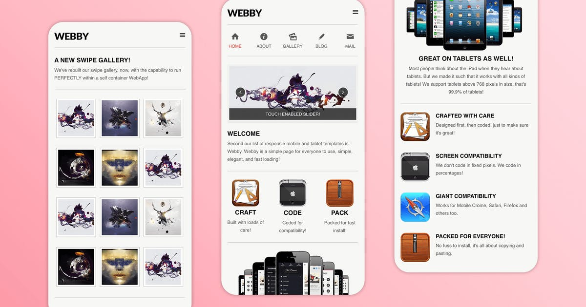 Download Webby   Simple & Creative Mobile Template by Enabled