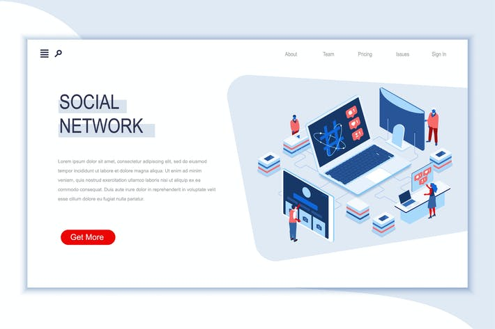 Thumbnail for Social Network Isometric Banner Flat Concept