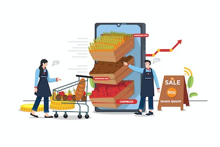 Grocery Store Promotion Illustration