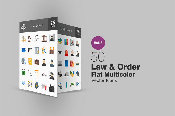Thumbnail for 50 Law & Order Flat Multicolor Icons