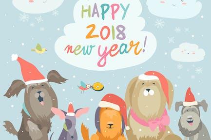 Alegre tarjeta de Año Novedad 2018. Perros divertidos