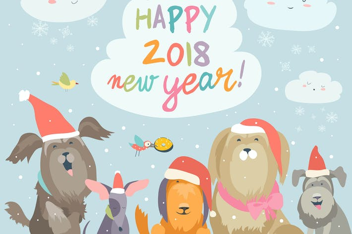 Cover Image For Happy 2018 New Year card. Funny dogs