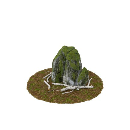 Felsbrocken und Baumstämme