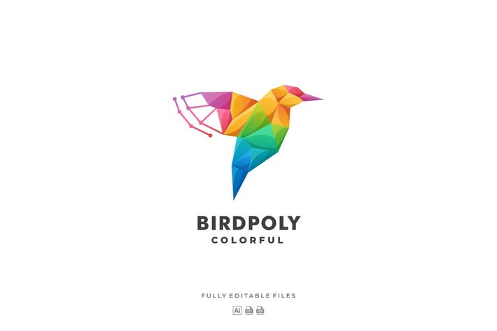 Thumbnail for Fly Bird Poly Colorful Logo