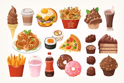 Fast food dishes and desserts