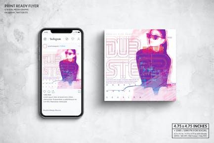 Dubstep Music Square Flyer & Social Media