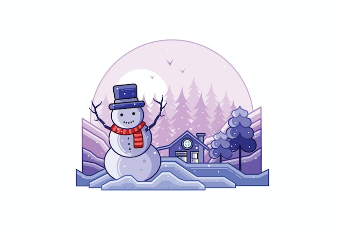 Thumbnail for Snowman with a Scarf Winter Line Illustration