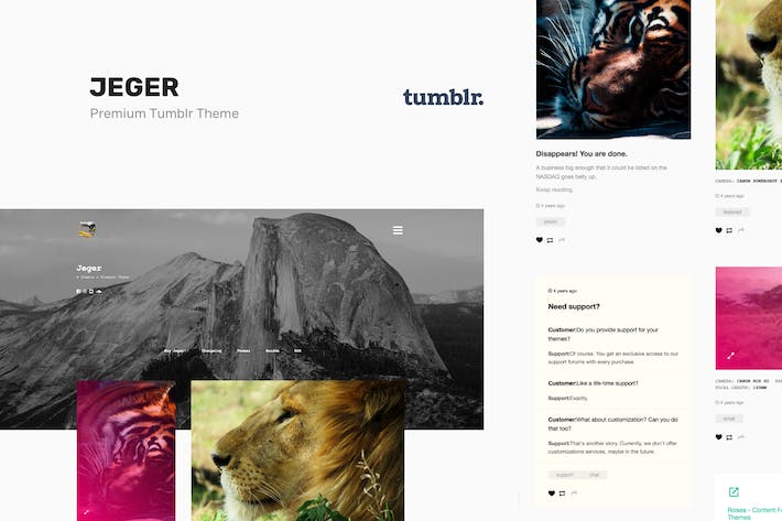 Thumbnail for Jeger | Responsive Portfolio Tumblr Theme
